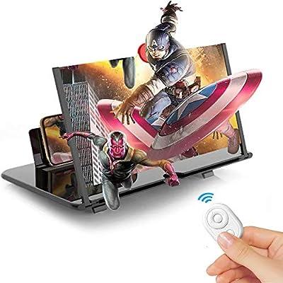 Lupa de pantalla de 12 pulgadas para smartphone, 3D HD, amplificador de pantalla, amplificador de pantalla para películas, vídeos, juegos, soporte de teléfono celular con amplificador de pantalla compatible con todos los