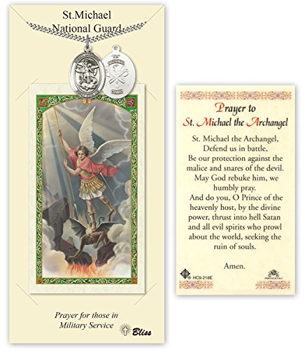 Pewter Saint Michael National Guard Medal with Laminated Holy Prayer Card