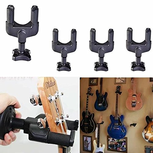 Paddsun 4Pcs Guitar Hanger Lock Rack Hook Stand Holder Keeper Wall Mount Bracket Home Studio Display Fits All Size Guitar, Acoustic, Bass, Mandolin, Banjo Easy Installation Compact Plastic Black