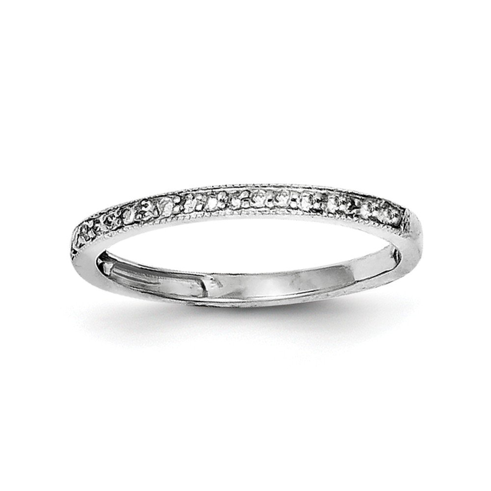 Size 8 Solid 925 Sterling Silver Diamond Wedding Band (2mm) (.15ct.)