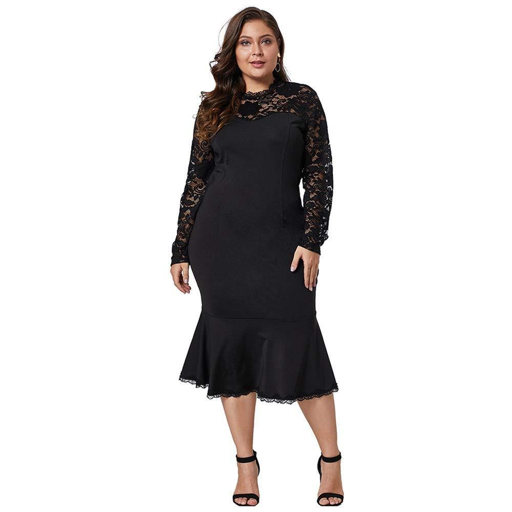 Black Women's Dress Women's Long Sleeve Lace XL Long Cocktail Evening Dress Women's Vintage Dress (color   White, Size   1X)