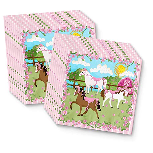 (BirthdayGalore Lovely Pink Horse Party Supplies Napkins 100pcs Value Pack)