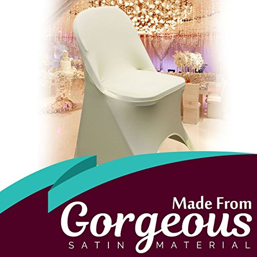 SPRINGROSE 100 Ecoluxe Ivory Spandex Stretch Folding Chair Covers | Sleek, Resilient Polyester & Elastic Spandex | for Wedding, Bridal Showers, Anniversary Party, Receptions, Celebrations, More by SPRINGROSE (Image #4)