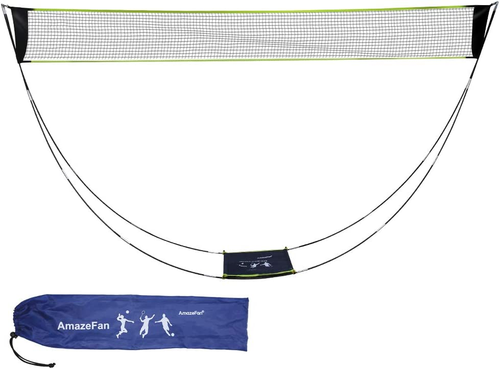 Outdoor AmazeFan Portable Badminton Net Set with Stand /& Carrying Bag Folding Volleyball Tennis Badminton Net Easy Setup for Beach//Indoor Court No Tools or Stakes Required
