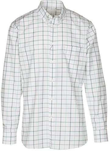 Alexander McQueen Men's White Windowpane Check Skull Embroidery Button Down Shirt, White, L
