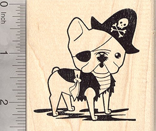 French Bulldog Pirate Rubber Stamp, Dog in Halloween Costume for $<!--$12.00-->