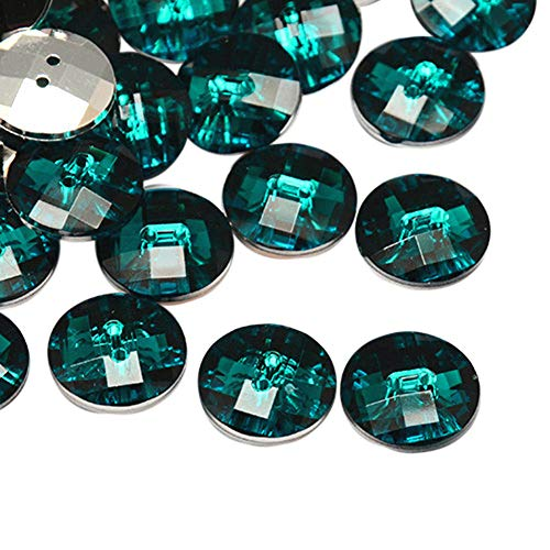 arricraft 144 Pcs Taiwan Teal Flat Round Acrylic Buttons Faceted Pearl Luster for Jewelry Making