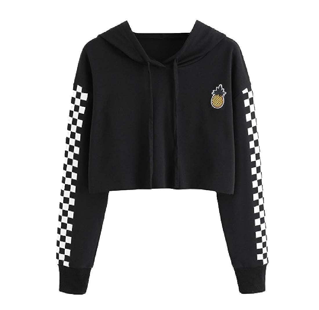 YUNY Women Hoode Pineapple Print Checkered Crop Drawstring Outwear Black S