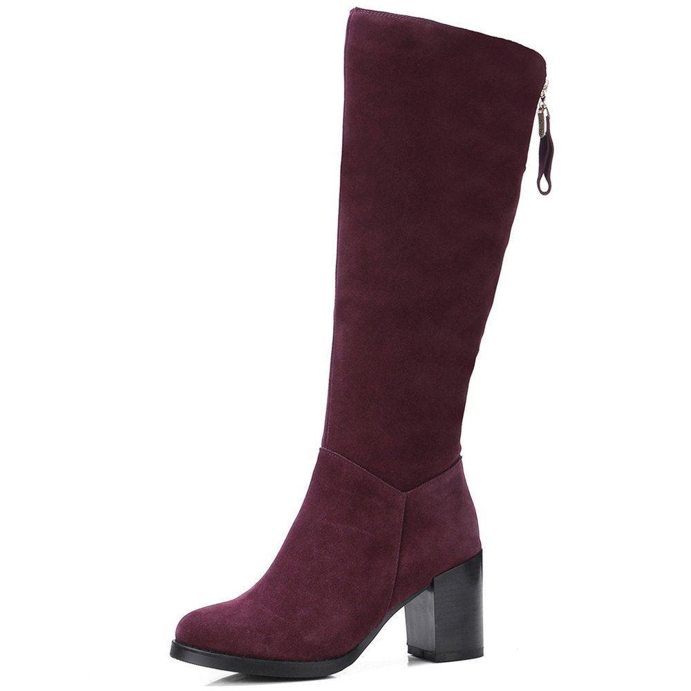 Nine Seven Suede Leather Women's Round Toe Chunky Heel Side Zip Handmade Classy Business Knee High Boots (7.5, Burgundy)