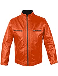 Amazon.com: Orange - Leather & Faux Leather / Jackets & Coats ...