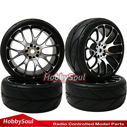 hobbysoul 4pcs New RC 1/10 On Road Tires Soft & Alloy Aluminum Rims Hex 12mm