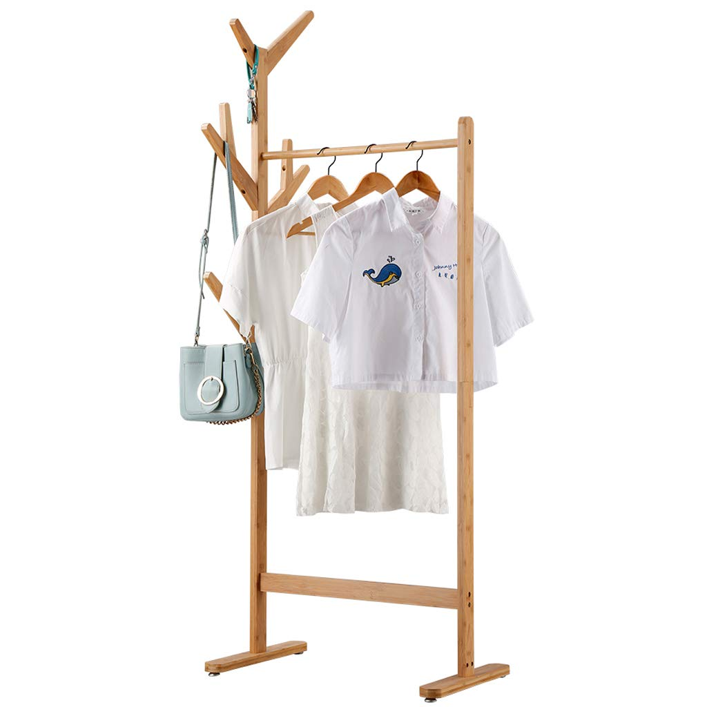 LANGRIA Single Rail Bamboo Garment Rack with 8 Side Hook Tree Stand Coat Hanger and Four Stable Leveling Feet for Jacket, Umbrella, Clothes, Hats, Scarf, and Handbags Natural Wood Finish
