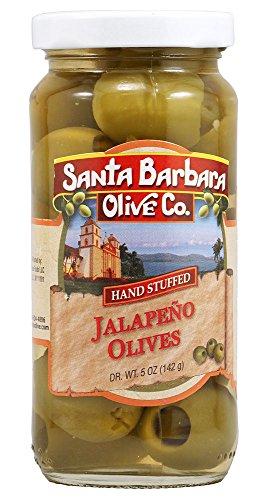 Santa Barbara Jalapeno Stuffed Olives, 5-Ounce Jars (Pack of 6) (Jalapeno Stuffed)