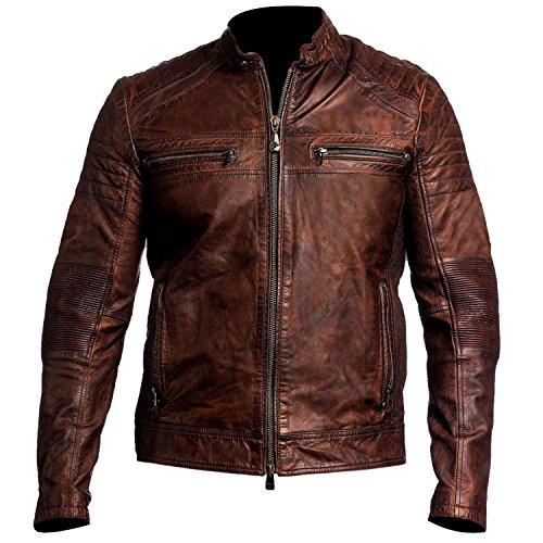 Brown Leather Biker Jackets - 7
