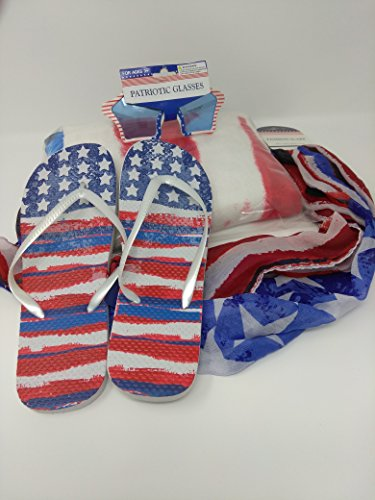 American Patriotic USA Flag United States of America SET OF 4 Towel Flip Flop Scarf and Shades STYLES MAY VARY Size 9/10 (Patriotic Page Border)