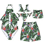 Family Matching Leaf Print Bathing Suit Mommy&Girl Hollow Our Ruffles Sleeveless Swimsuit Daddy&Boy Swim Trunks (Boy, Boy 4T)
