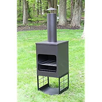 "Oliver and Smith - Large Iron Outdoor Round Patio Chiminea Fireplace Rear Fire Shield - 18"" x 18"" x 46"" Tall - with Stainless Steel Grill - Chiminea Weather Cover - 4 Skewers"