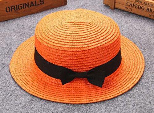 BIBOKAOKE Visera de Sombrero de Paja para Mujer,Arco Verano Beach Straw Cap Respirable de Sol Casual Moda de Viajes Vacaciones