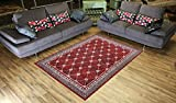 Designer Collection Trellis Design Contemporary Modern Area Rug Rugs (Red, 4'11''x6'11'')