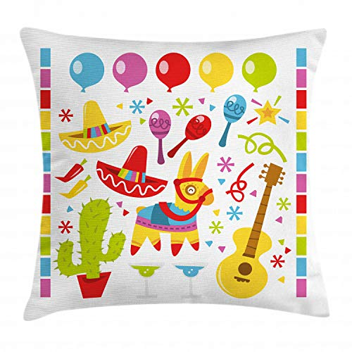 Ambesonne Fiesta Throw Pillow Cushion Cover, Mexican Party Pattern Cactus Sombrero Musical Items and a Pinata Inspirations, Decorative Square Accent Pillow Case, 18