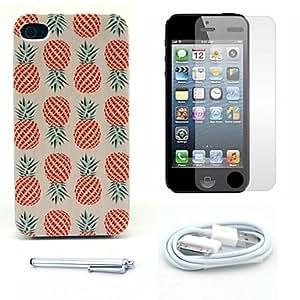HC- caso duro del patrón de la piña y el protector de pantalla y lápiz óptico y el cable para el iphone 4 / 4s