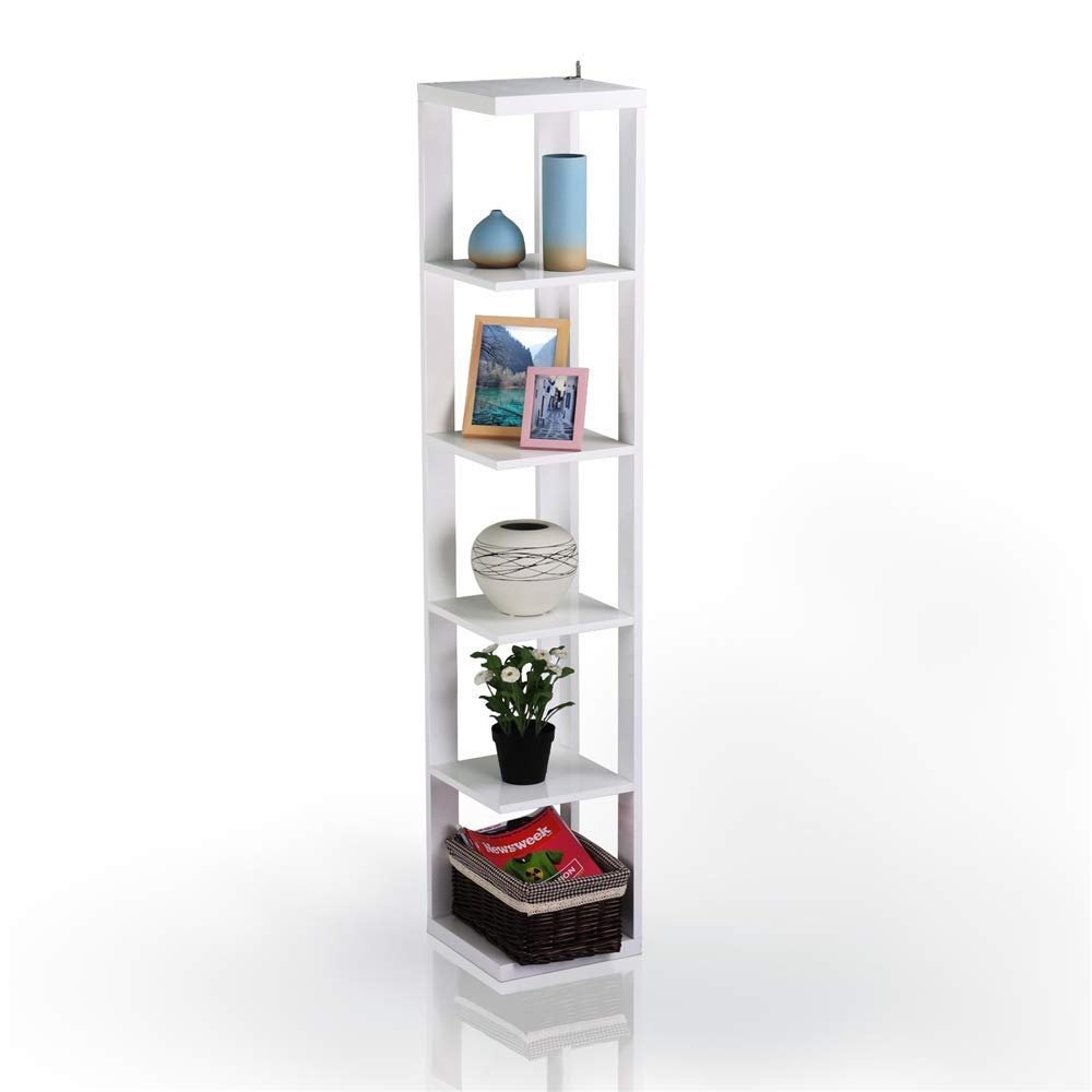 Yaheetech 5 Tier White Finish Wood Wall Corner Shelf Slim Bookshelf/Bookcase Tall Display Rack