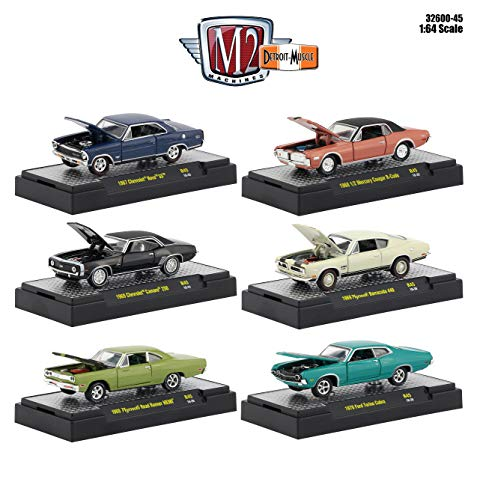 Detroit Muscle 6 Cars Set Release 45 in Display Cases 1/64 Diecast Model Cars by M2 Machines 32600-45