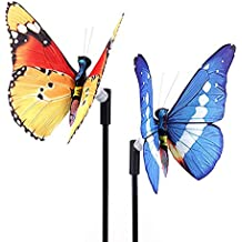 Rongbenyuan Solar Powered Garden Stakes,Butterfly Garden Lights 7 LED Colors Waterproof for Garden, Decor for Indoor Outdoor Lawn Yard Patio (2 in 1 pack)