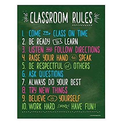 Classroom Rules Posters for Science, History, Reading, Music, Math Class -  Laminated Educational Posters for Middle School and High School - Class