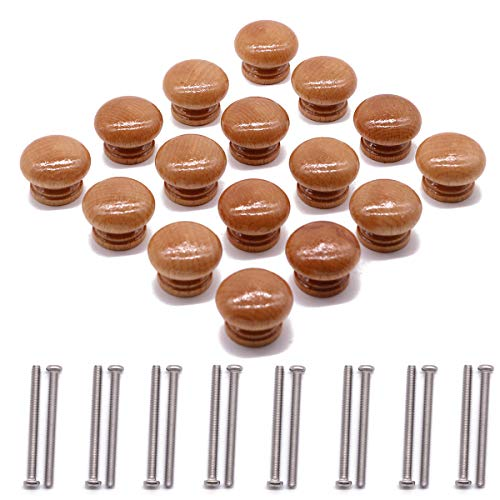 (PGCOKO 16pcs Round Mushroom Wood Coated with Varnish Unfinished Furniture Hardware Cabinet Closet Drawer Knobs Pulls Handles with Steel Screws)