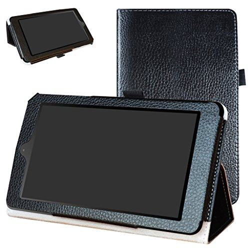 "Nook Tablet 7 2016 Case,Mama Mouth PU Leather Folio 2-Folding Stand Cover for 7"" Barnes & Noble Nook 7 BNTV450 Andriod Tablet 2016,Black"