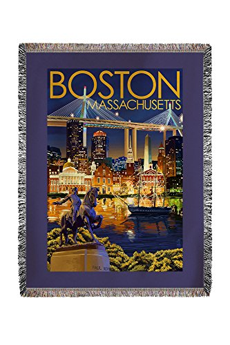 Lantern Press Boston, Massachusetts - Skyline at Night (6...