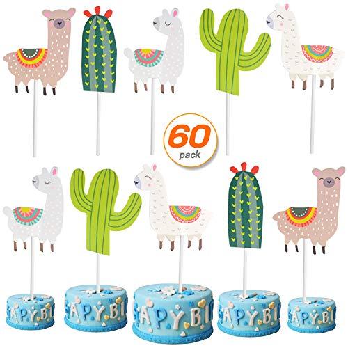 60 Pcs Llama and Cactus Cupcake Toppers Alpaca Cactus Cupcake Picks for Fiesta Party Decorations Shower Birthday Supplies 36 Alpaca 24 Cactus