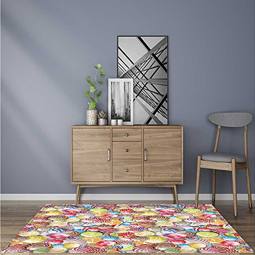 Indoor/Outdoor Rug Spiral Sugar Candy Sweets Lolly Pops Dessert Fun Girls Kids Nursery Theme for Living Room, Bedroom, and Dining Room 5' X 7'