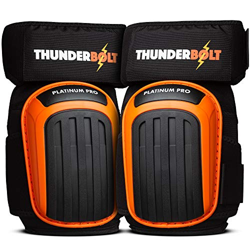 Knee Pads for Work by Thunderbolt with Heavy Duty Gel Cushion Perfect for Construction, Flooring and Gardening with Adjustable Anti-Slip Straps