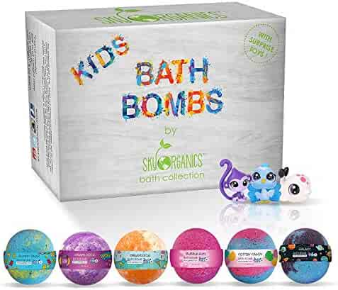 Kids Bath Bombs Gift Set with Surprise Toys Inside Fun Assorted Colored XL Bath Fizzies, Kid Safe, Gender Neutral with Natural Essential Oils -Handmade in the USA Bubble Bath Fizzy (6 count x 5oz)