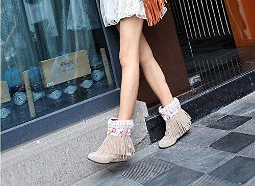 Cargadores de las mujeres con plano - alto tacón con flecos zapatos ocasionales camel