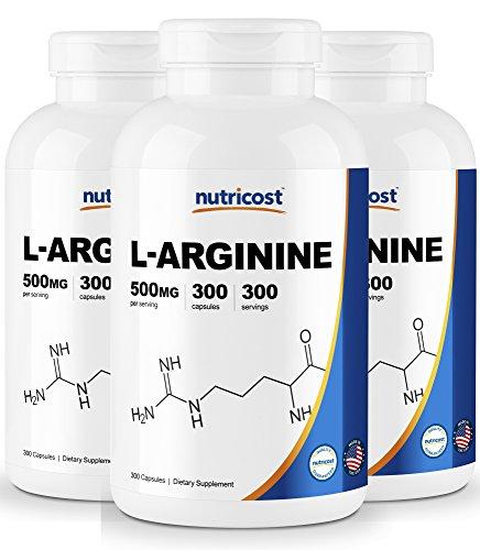 Nutricost L-Arginine 500mg, 300 Capsules 3 Bottles