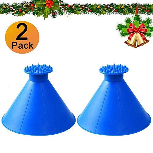 FEBSNOW Round Windshield Ice Scrapers - Magic Cone-Shaped Car Windshield Ice Scrapers, Car Snow Removal Shovel Tool (2 Pack)