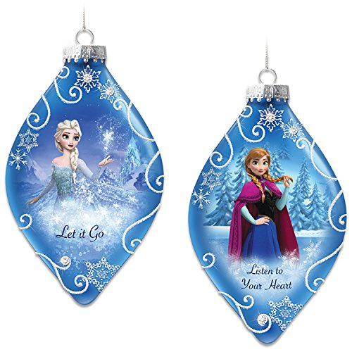 Disney Heirloom Glass FROZEN Christmas Tree Ornaments Set One: Let It Go And Listen To Your Heart With Elsa And Anna by The Bradford (Bradford Christmas Heirloom Ornaments)