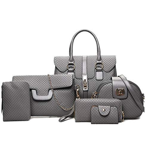 6 Pcs Bags Set Leather Handbag Shoulder Crossbody Bags Ladies Messenger Bag Clutch Purse