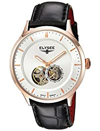 ELYSEE Men's 'Classic-Edition' Automatic Gold and Leather Casual Watch, Color:Black (Model: 15103.0)