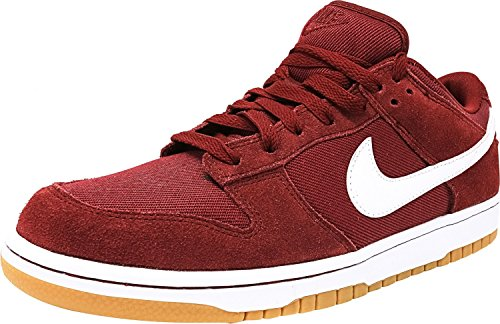 NIKE Men's Dunk Low Canvas, Black/White-White Team Red / White-white