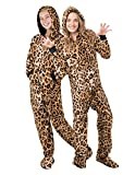 Footed Pajamas Family Matching Cheetah Print Kids Hoodie Chenille Onesie - Medium Brown