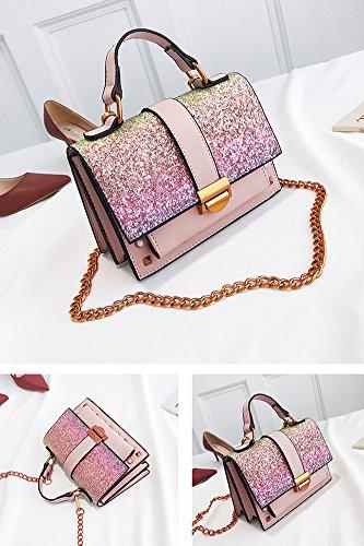 HQADIER Pailletten Nieten Kleine Quadratische Paket Vintage Einzelne Schulter Bagchain Tasche Crossbody Tasche PU Tote Dame Datierung Einkaufstasche Pink