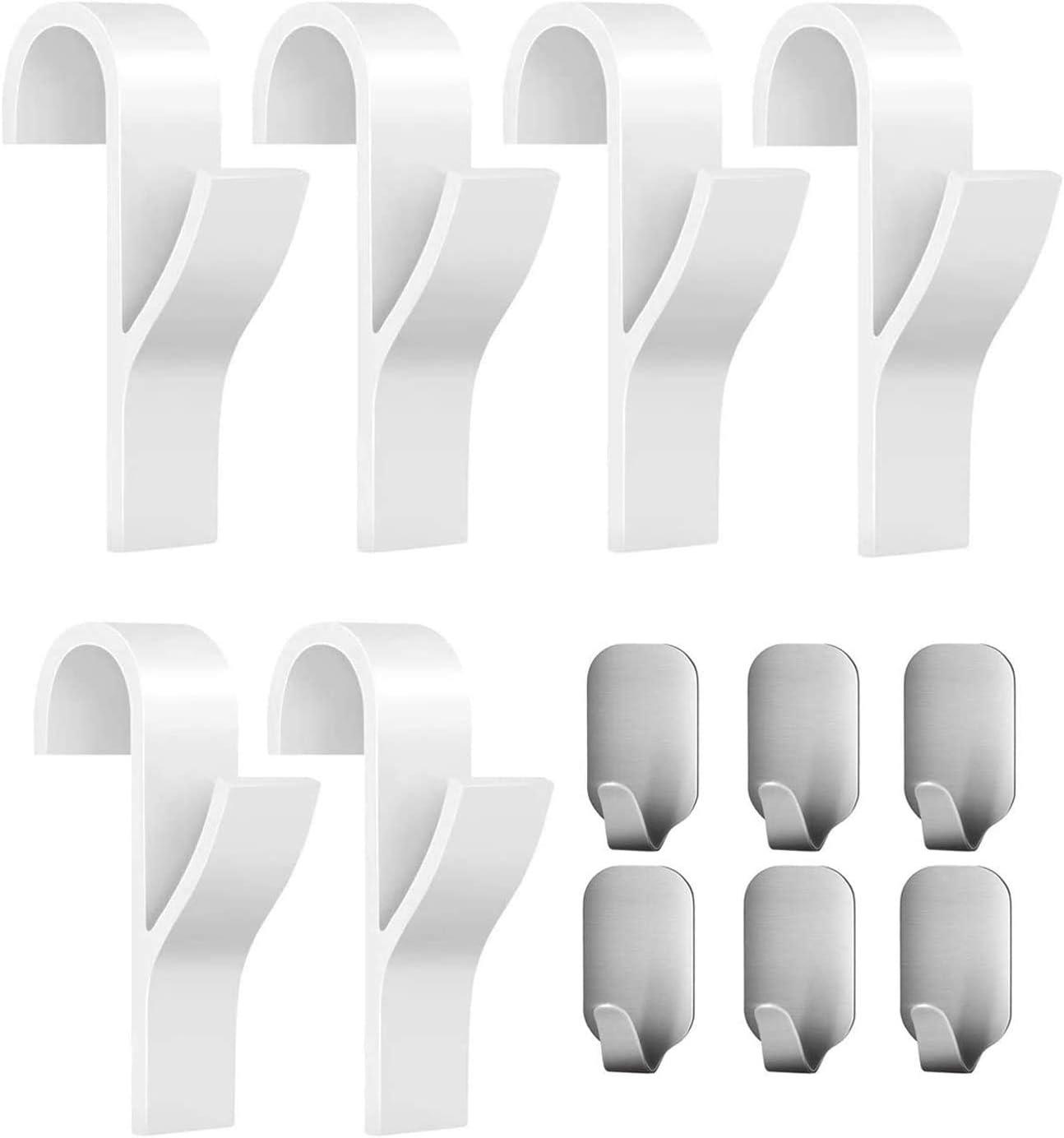 EasyULT 6 piezas Gancho para Radiador Toallero Colgadores para Radiador y 6 piezas Ganchos Adhesivos Acero Inoxidable, para Baño e Cocina(12 Piezas)