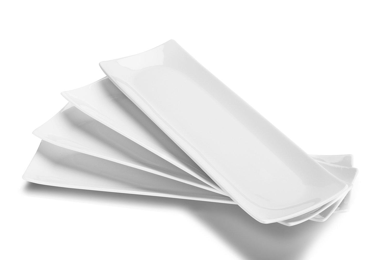 DOWAN 14-Inch Porcelain Serving Plates/Rectangular Platters, Set of 4, Classic White