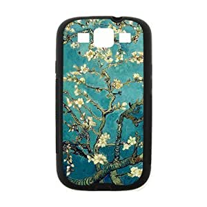 Cherry Blossom Painting Style On Blue Background Design Luxury For Case Samsung Note 3 Cover (Black) with Best Silicon Hard ALL MY DREAMS