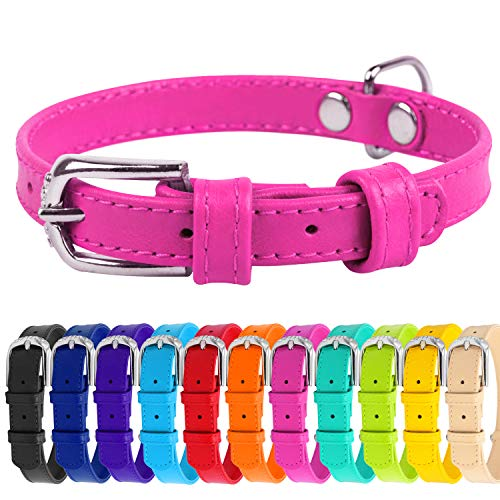 WAUDOG Soft Leather Dog Collar - Dog Collars for Small Medium Large Dogs Puppy - Red Blue Pink Purple Green Black - Handmade with Real Genuine Leather - Glamour Plus (X-Small 7-8 1/4 Neck, Pink)
