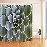 Cactus Decor Shower Curtains By KOTOM Cactus Plant Zoomed Photo Mexican Hot Natural Plant Bath Curtains, 72X72 Inches, Green